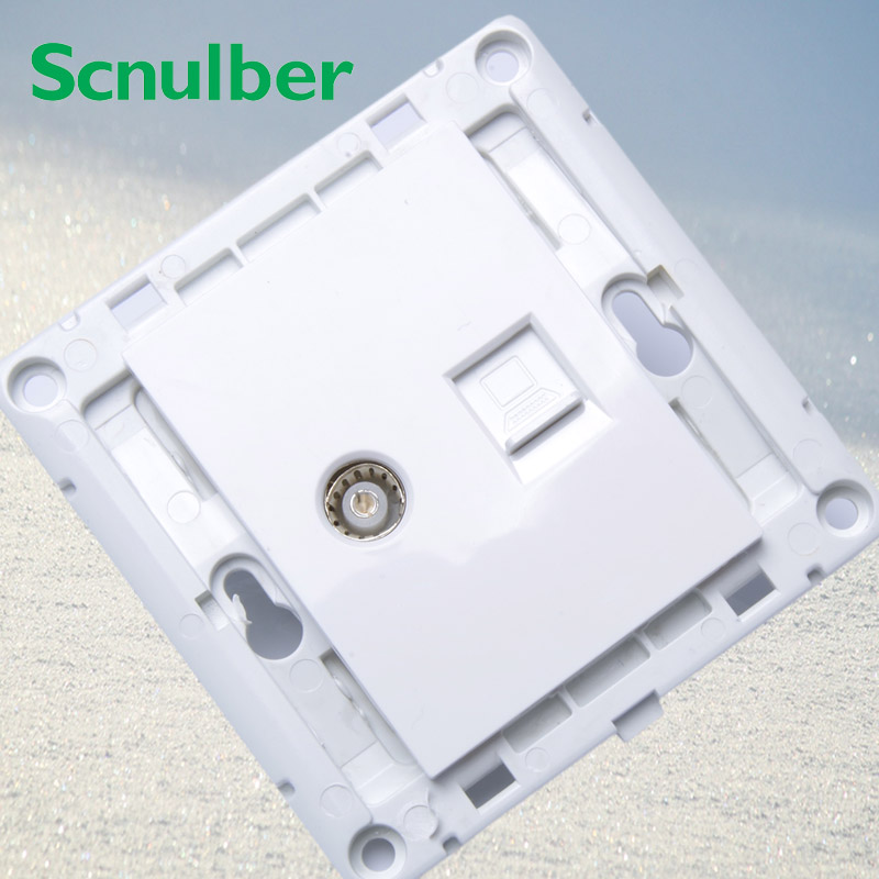 white tv wall switch panel outlet with 8p eight pins internet computer RJ45 socket