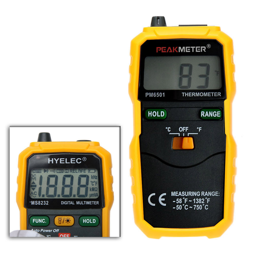 PEAKMETER PM6501 LCD Wireless K Type Digital High Accuracy Thermometer Temperature Meter Thermocouple W/ Data Hold/Logging