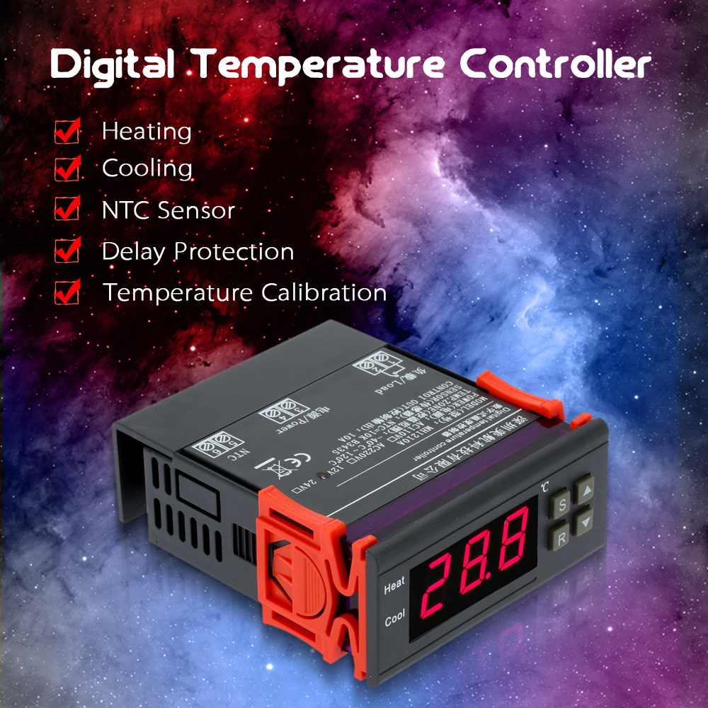 10A 12V Digital Temperature Controller Thermocouple with Sensor LCD Mini Temperature Controller -40~120 Celsius Degree