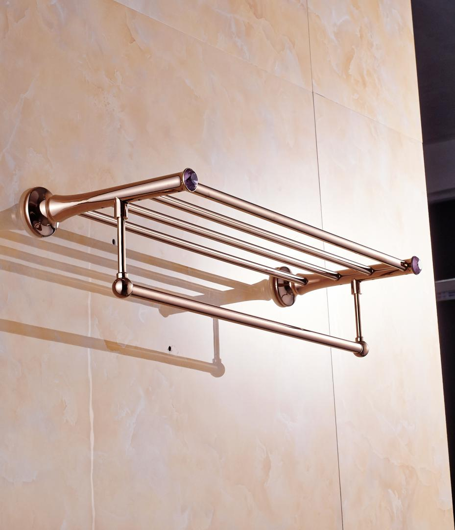 Antique Gold Solid Brass Double Layer Towel Bar Luxury Polished Bathroom Towel Shelf/Towel Rack Bathroom Accessories T11