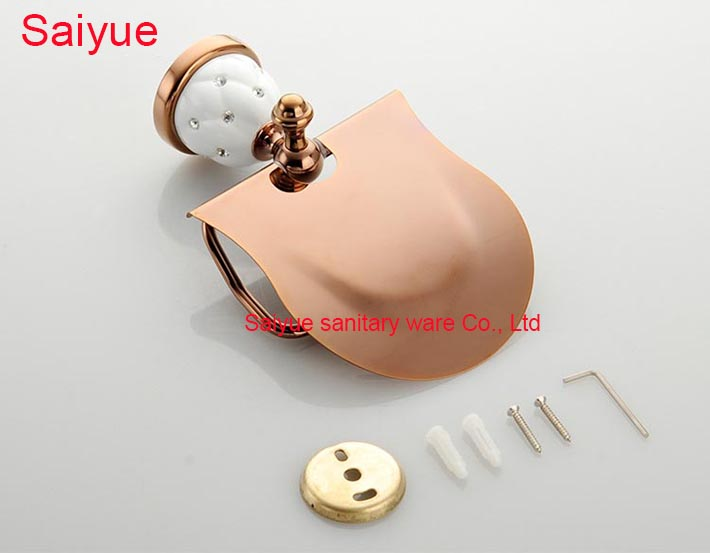 Unique Luxury  Rose Gold Toilet Lavatory WC Paper Holder With diamond Roll Tissue Holder metal  Bathroom Accessories Product