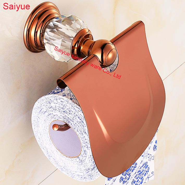 New Edge Simple Luxury Rose Gold With Diamond Toilet Lavatory WC Paper Holder Roll Tissue porte-papier bathroom accessories
