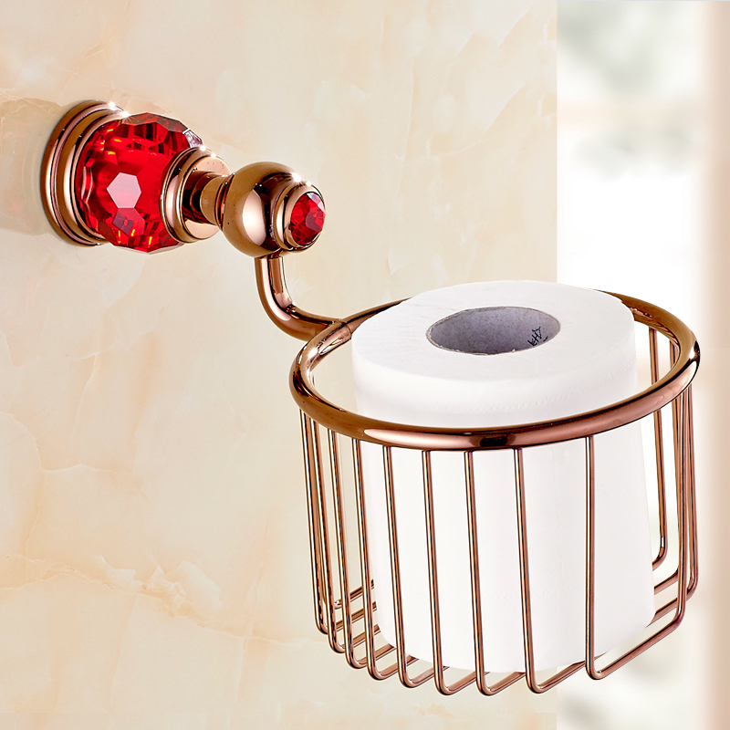 Rose Golden Polish Brass With Crystal Paper Holders Wall Mounted Bathroom Accessories Round Paper Basket Bathroom Shelf