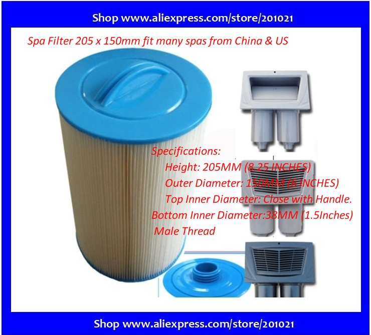 hot tub spa filter Length 205mm Outer diameter 150mm Inner Diametre top semi-circular handle 38mm SAE thread