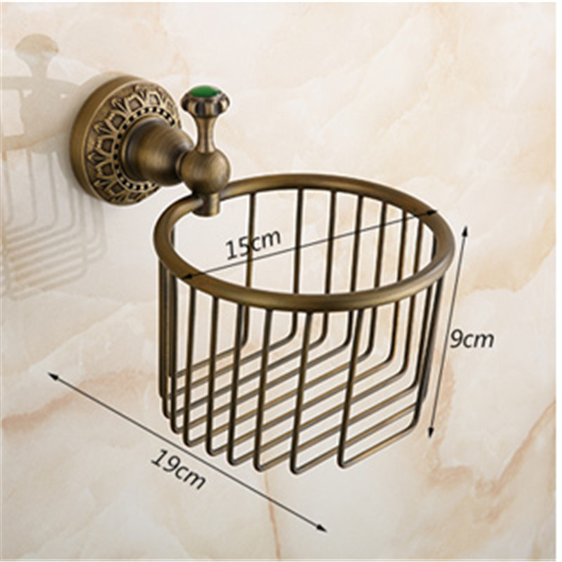 European toilet paper box archaize toilet tissue box All copper top paper holder bathroom toilet paper basket with green stone