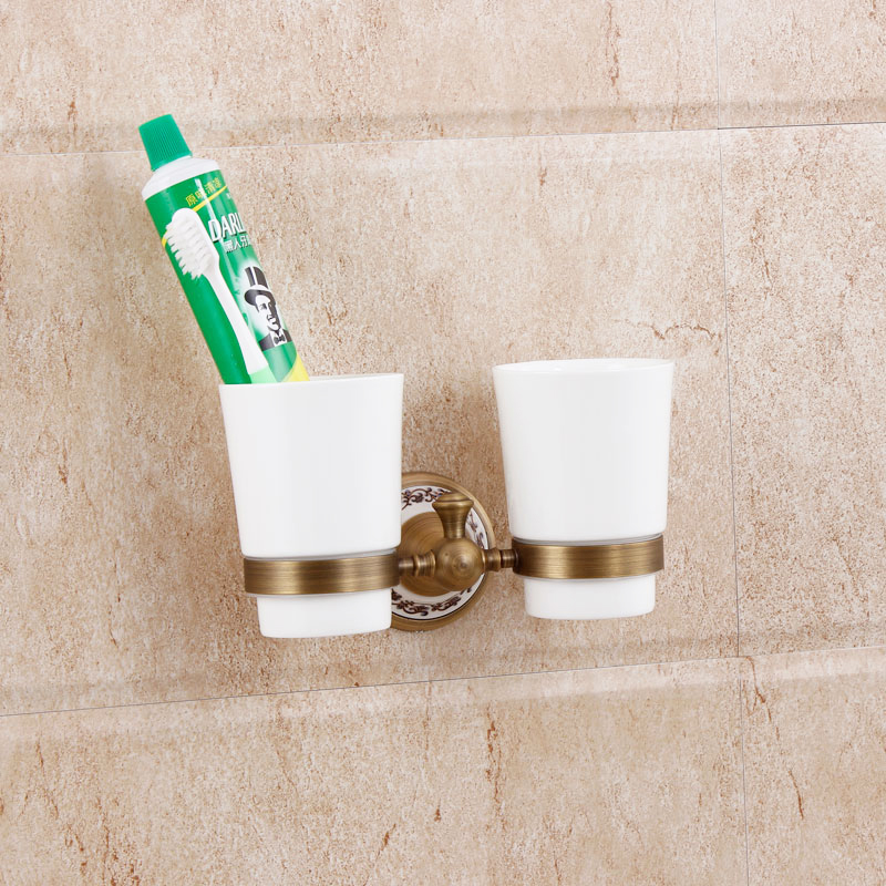 Antique Solid Brass Bathroom Ceramic Toothbrush Cup Holder Luxury Wall Mounted Toothbrush Tumbler Double Cup Bathroom Hardware 6