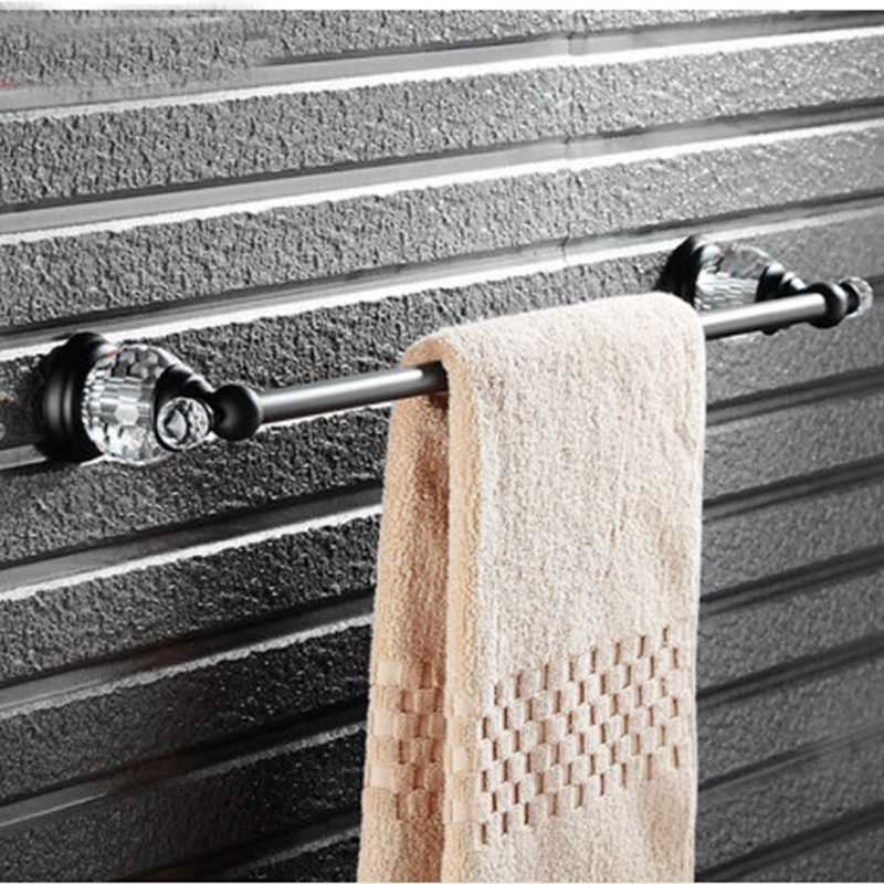 Oil Rubbed Bronze Wall Mounted Bathroom Towel Rack Holder Crystal Hangers NEW