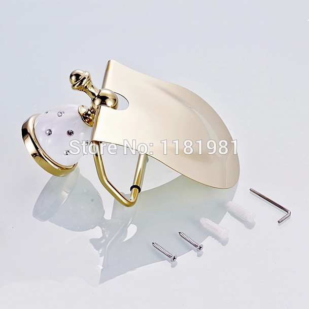 New Gold Toilet Paper Holder with diamond,Roll Holder,Tissue Holder,Bathroom Accessories Products 9036T