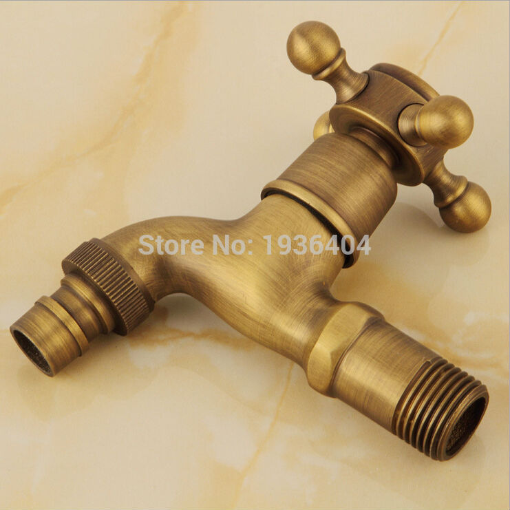 Brass Bathroom Outdoor Laundry Faucet Antique Single Cold Washing Machine Taps Wall Mounted W204