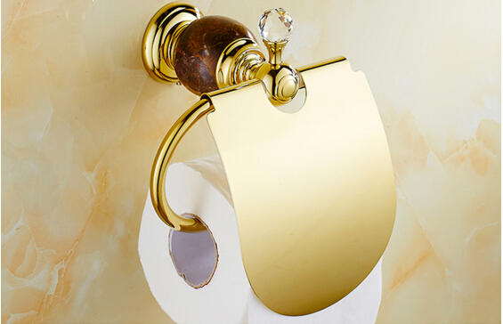 High Quality Luxury Crystal Decoration Paper roll Holder Gold Brass Toilet Paper Holder Waterproof Tissue Box Holder