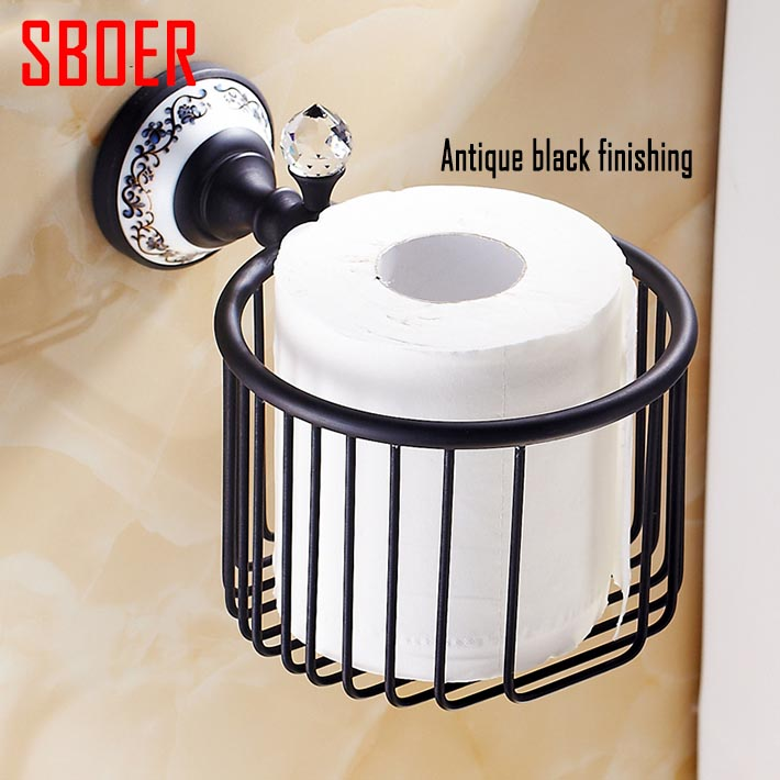 Rose golden black antique chrome brass Crystal Wall Mounted Bath Accessories WC toilet Paper Holders Bathroom storage Basket
