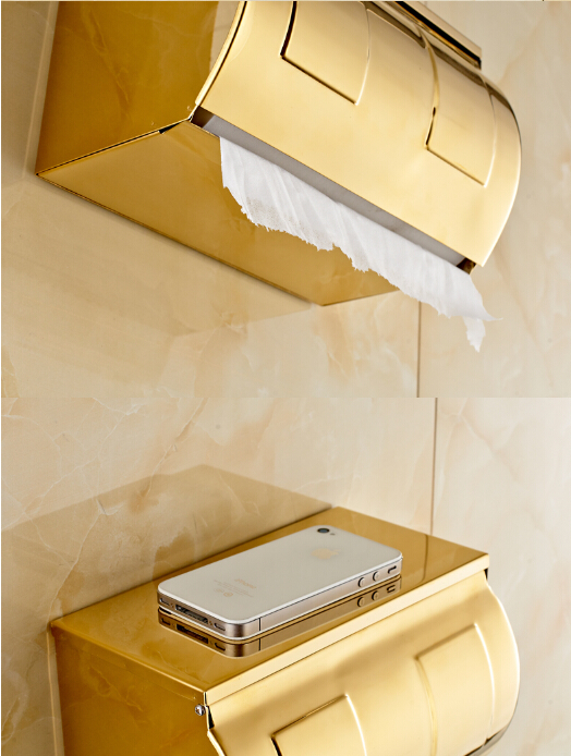 new arrival 304 stainless steel never rust gold finished Europe style bathroom paper holder with phone flat roof