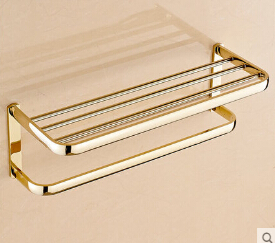 High Quality Gold Fixed Bath Towel Holder Wall Mounted Towel Rack Brass Towel Shelf Bathroom Accessories