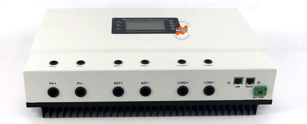 Beautiful White 99% Max efficiency 100A 12V24V 36V 48V auto sensing high intelligent MPPT Solar Charge Controller with RS232 LAN