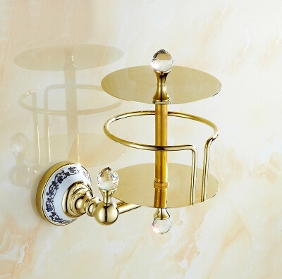 High Quality Gold paper holder bathroom tissue box waterproof Brass toilet paper roll holder