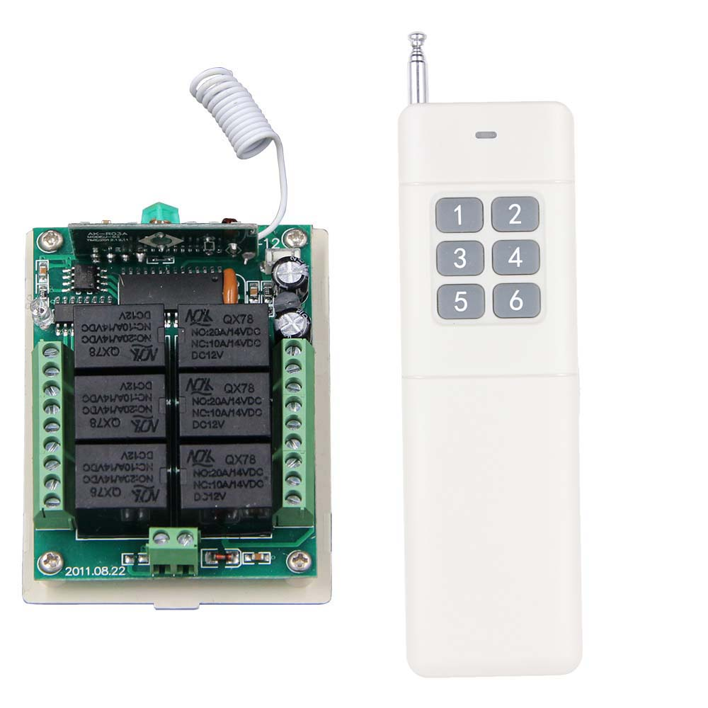 3000M Long Range DC12V 24V 6 CH 6CH RF Wireless Remote Control Switch System,315/433.92 Mhz,Transmitter + Receiver