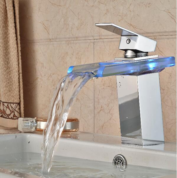 Led Bathroom washbasin glass faucet waterfall Glass Bathroom led Basin Chrome Mix Tap Sink Faucet without battary