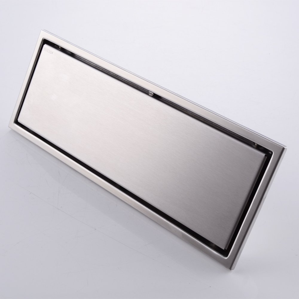 30 x 11cm SUS 304 Stainless Steel Invisible Linear Shower Floor Drain Wetroom Grate with Strainer