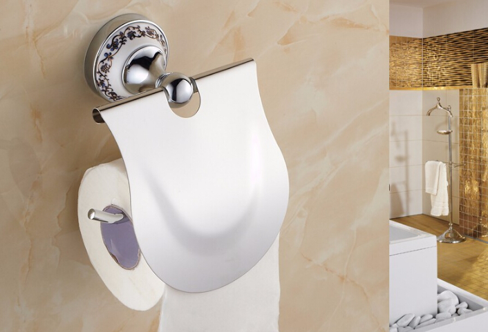 Hot sell Bathroom Accessories Blue & White Porcelain Solid Brass Golden Finish Toilet Paper Holder/Bathroom Product