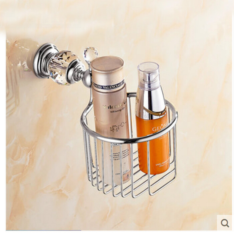 Chrome Crystal Wall Mount Bathroom Toilet Paper Holder Accessories Shelf Basket