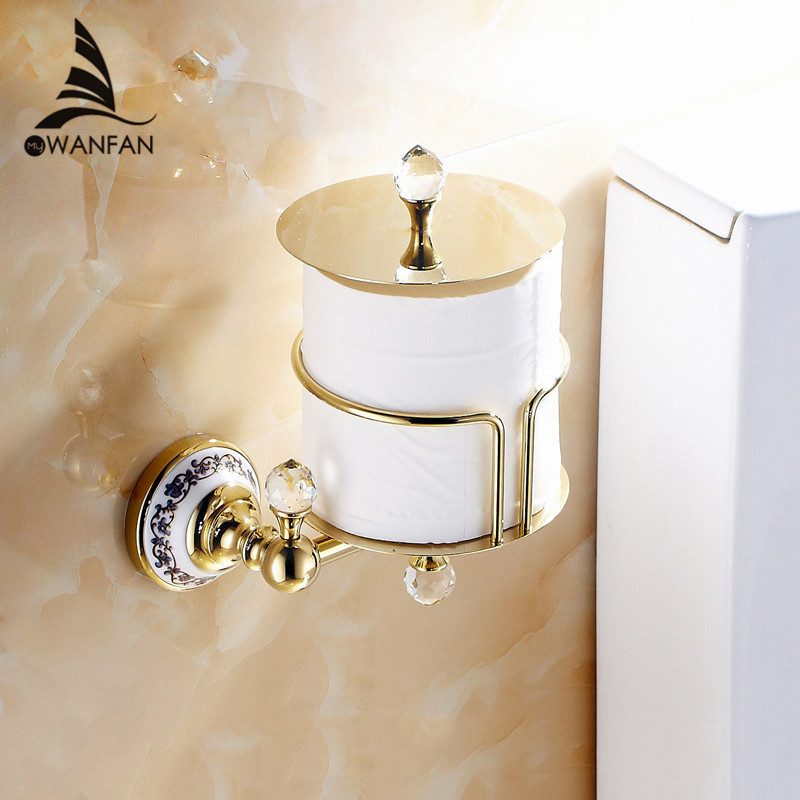 Paper Holders Euro Style Wall Mounted Crystal Brass Paper Box Roll Holder Toilet Gold Paper Holder Bathroom Accessories 6316