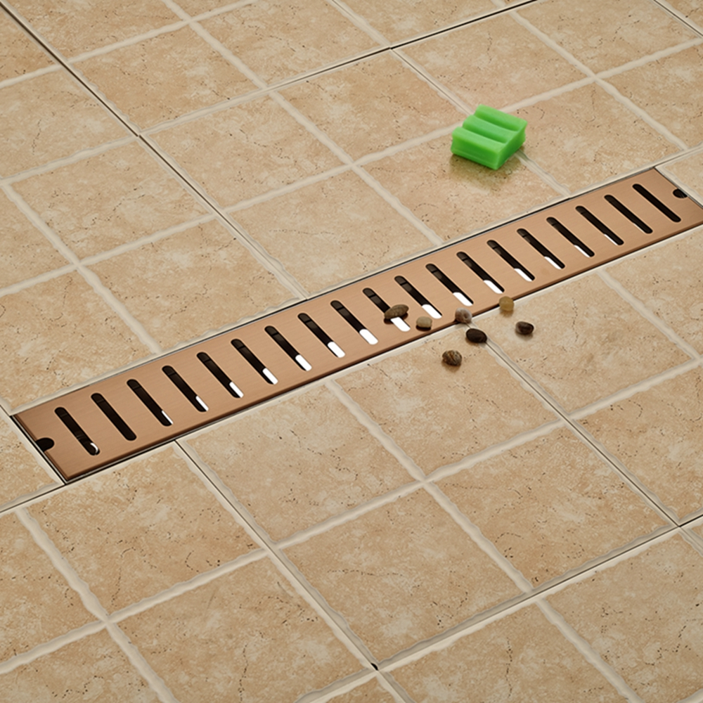 Floor Filler Grate Waste Floor Drain Square Bathroom Shower Rose Golden