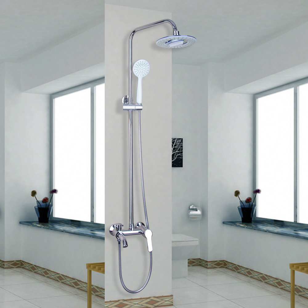 "Classic Chrome Polished 8"" Rain Shower Faucet Set Tub Mixer Tap with Hand Shower Shower Faucets"