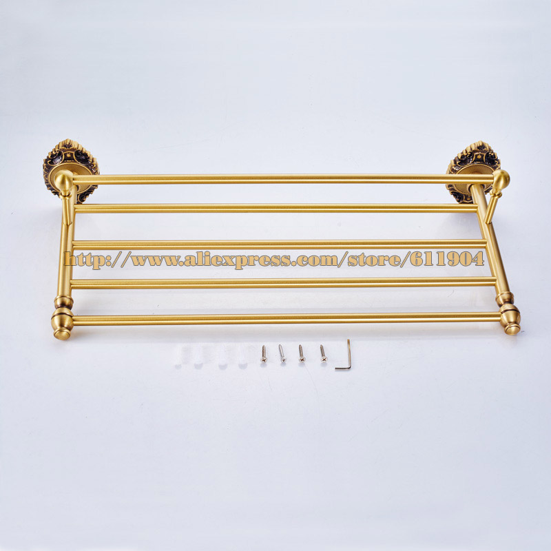 New Elegant Totally Brass Bathroom Bath Towel Rack Bar Towel Shelf  Double Layer Vintage Chinese Style 36G2301