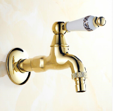 New Arrivals total brass wall mounted gold washing machine faucet bathroom corner faucet outdoor garden faucet bibcock faucet