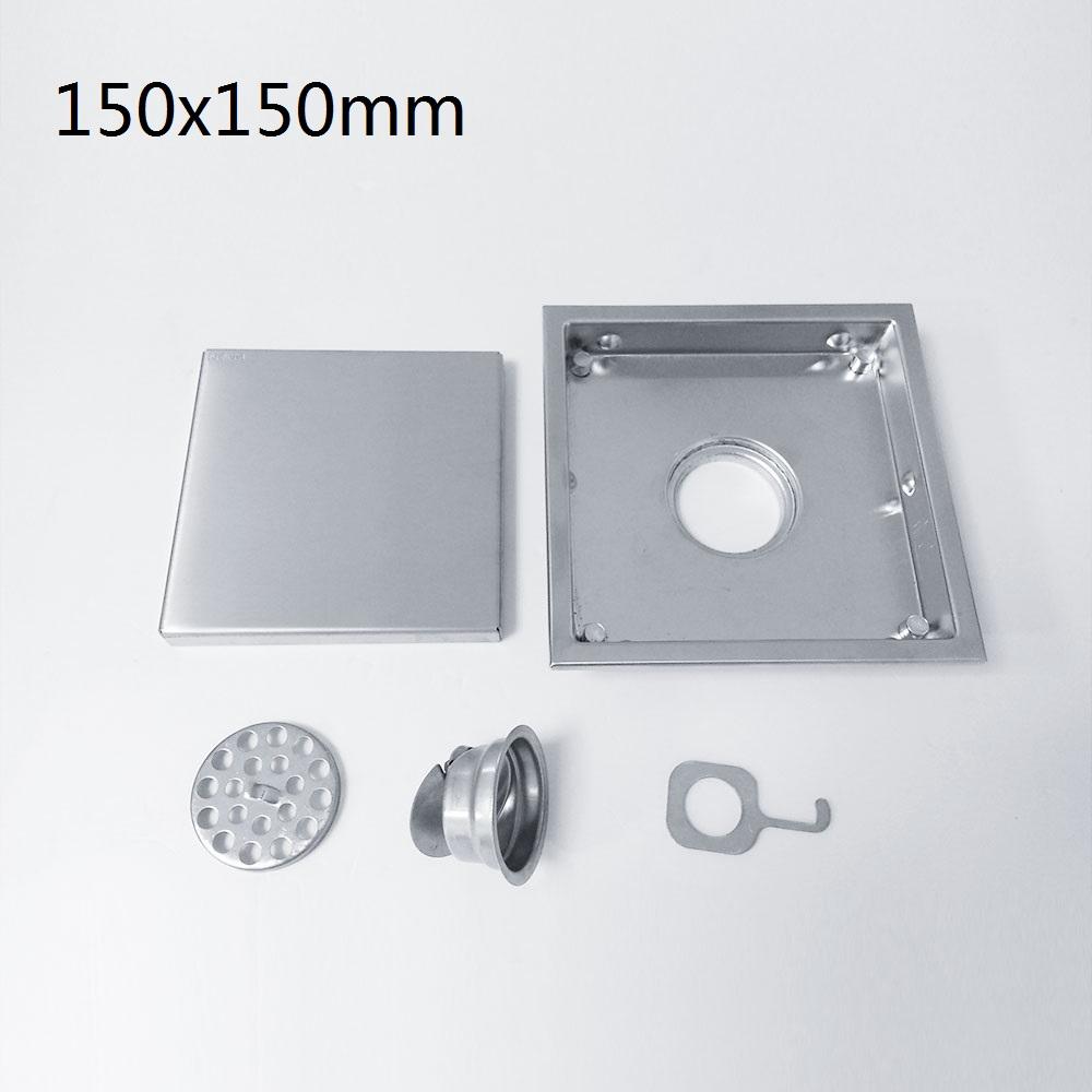 Bathroom Stainless Steel Tile Insert Square Waste Floor Drainer Brushed Nickel