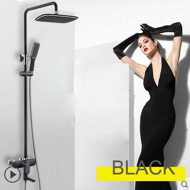Black/White Shower System Faucet With Raintal Shower  Bathroom Renvoation Hot Cold Water Control Swivel Spout