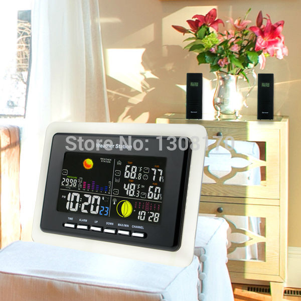 Weather Station Alarm Temperature and Humidity Indicator + 3 Wireless Sensors Alarm 8 Function Keys