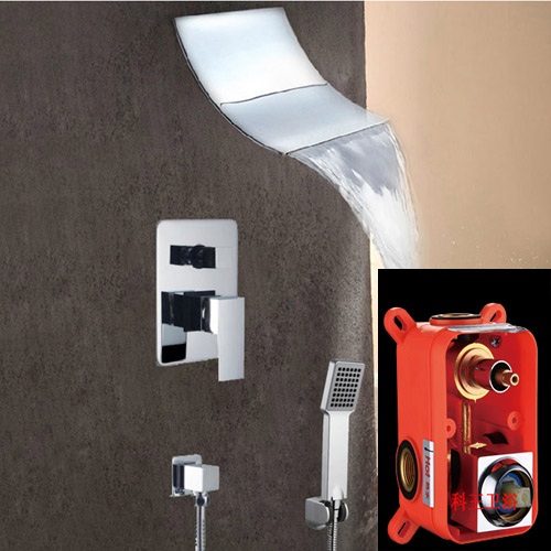 Bathroom Concealed shower faucet mixing Valve Shower set Embedded box Dual function Rain Waterfall Shower Faucet Control taps