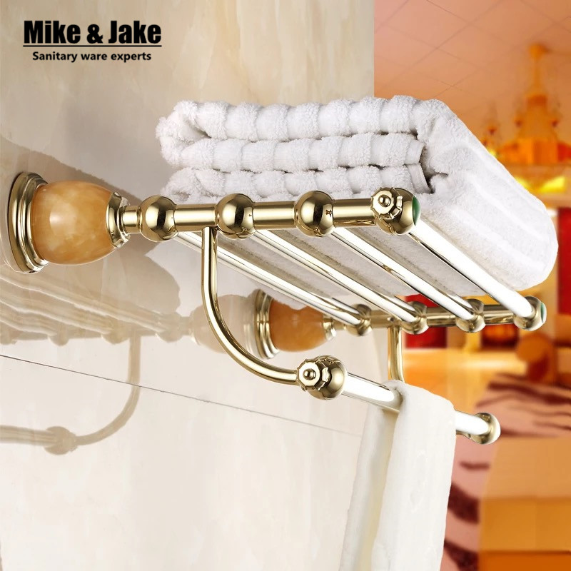 Bathroom Accessories golden Metal Pendant double Towel shelf Rack 2016 New Arrival Prateleira Cabideiro double Towel rack