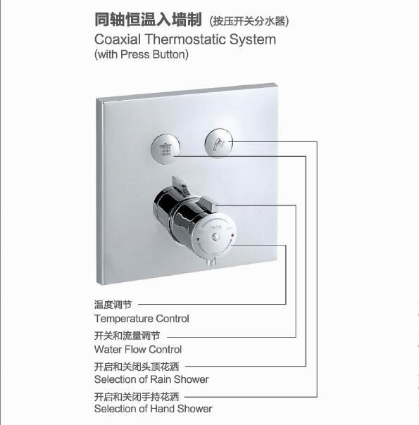 Bathroom concealed double function thermostatic shower mixer two function shower thermostatic faucet wall mounted shower panel