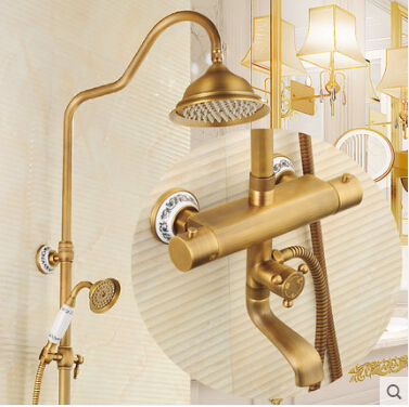 Luxury High Quality Bathroom Antique Brass Rain Shower Set, Thermostatic Shower Faucet Bath & Shower Faucet Set, Wall Mounted