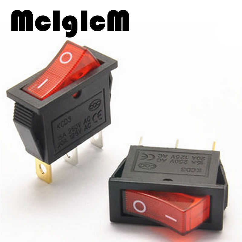 4pcs/lot Mini Boat Rocker Switch AC 250V 16A / AC 125V 20A 3 Pin ON/ON SPST Snap in with RED LED Light 13mm*30mm