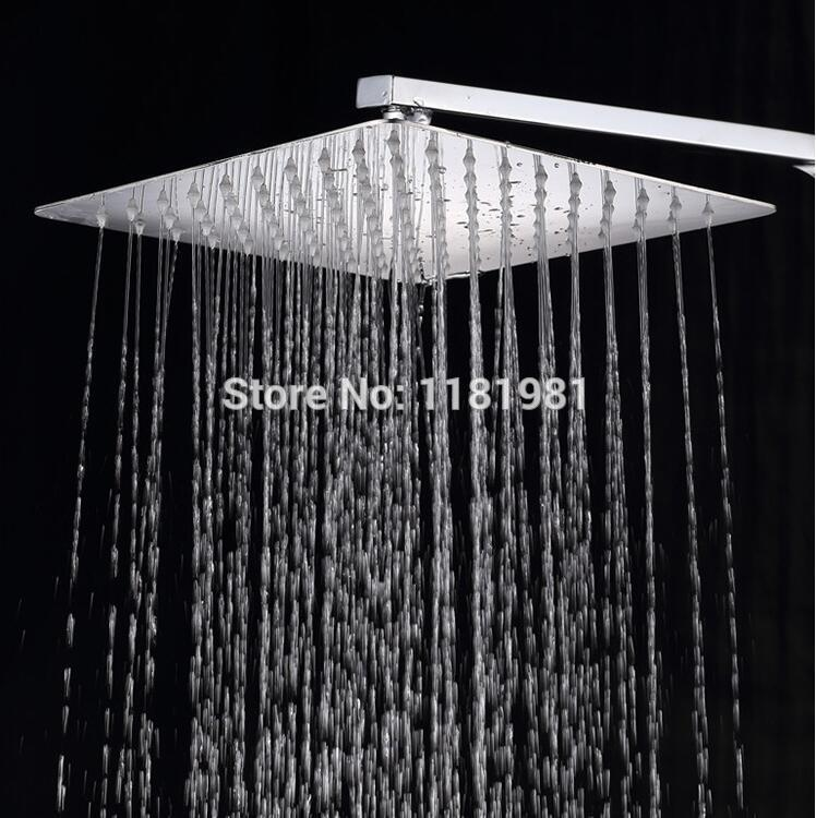 12 inch big and thin square 304 stainless steel bathroom rain shower head XR880312