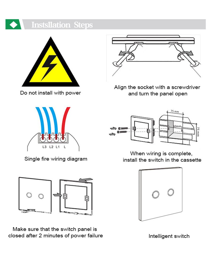 Maifom Remote Control Light Switch Eu Standard 2 Gang 1 Way Crystal Socket Wiring Diagram