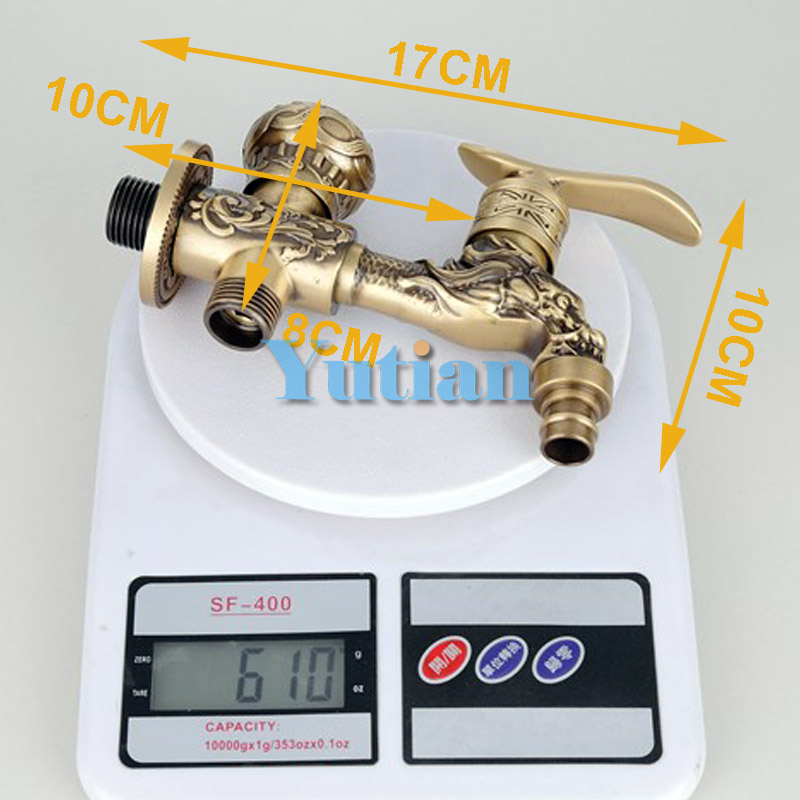 Long garden double use Bibcock faucet tap crane Antique Brass Finish  Wall Mount Washing Machine Water Faucet Taps YT-5166