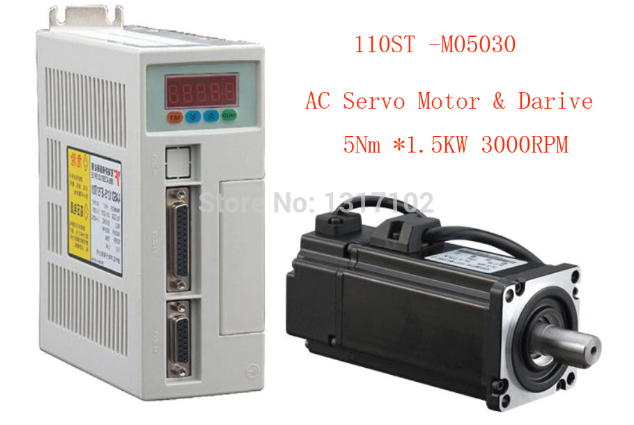 1 set 110ST-M05030 AC SERVO MOTOR 5.0N.M 1.5KW WITH DRIVER AND CABLE