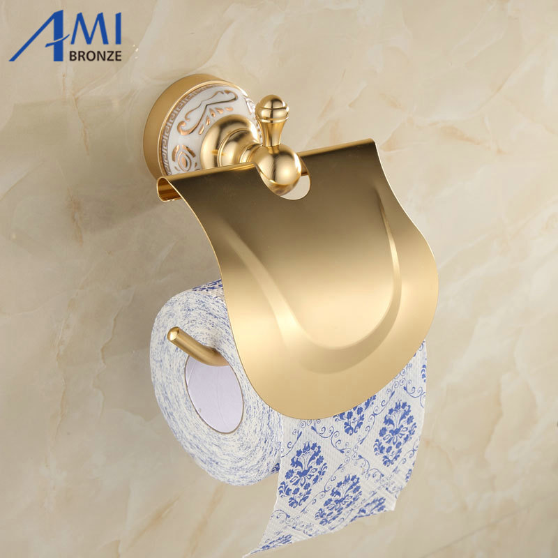 AG Series Golden Polished  Space Aluminum Toilet Paper Holder Paper Box Bathroom Accessories Paper Rack