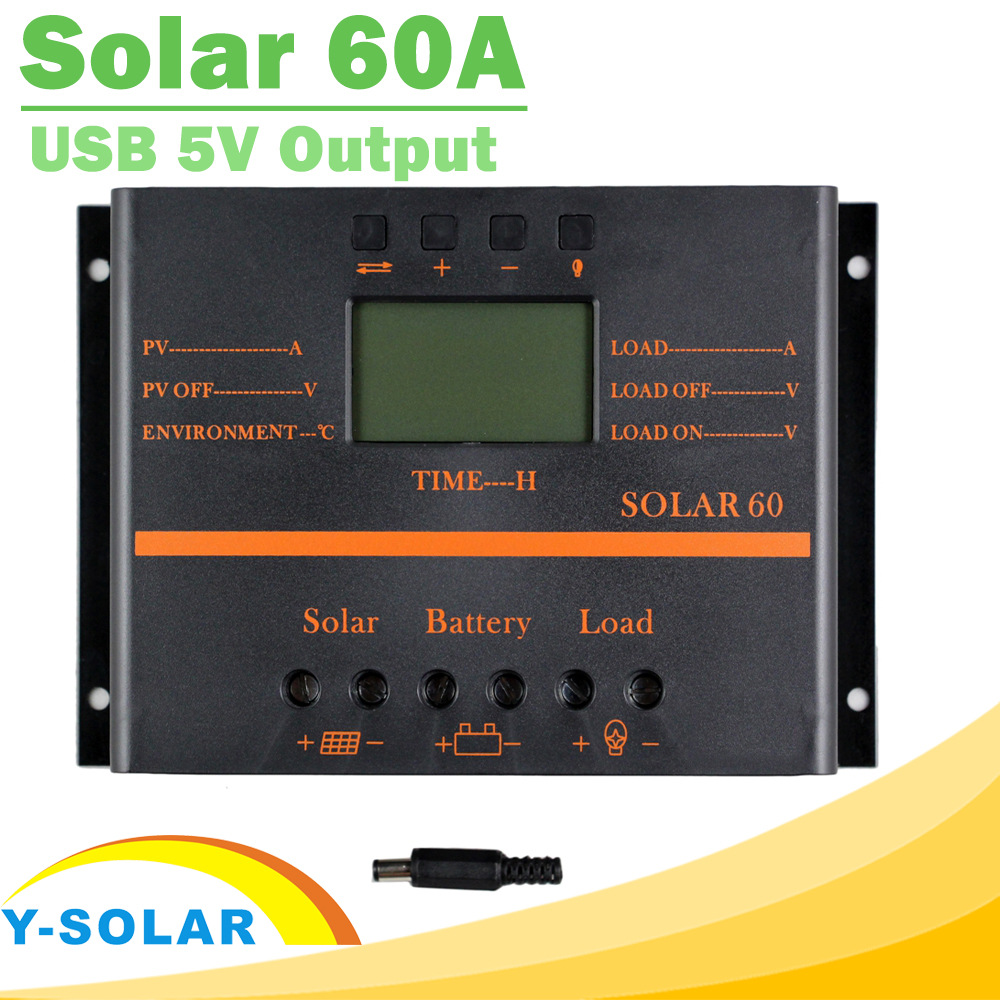 PWM Solar Charge Controller 60A 12V 24V LCD Regulator for Max 50V Input Solar60 Light and Timer Control for Street Lighting