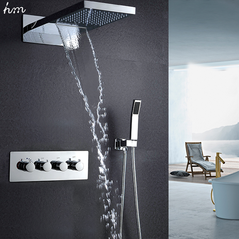 "hm 22""Waterfall Rain Shower Sets Faucet & Hand Shower SUS304 Luxury 4 Function Spa Waterfall Massage Bathroom Fixture Shower Set"