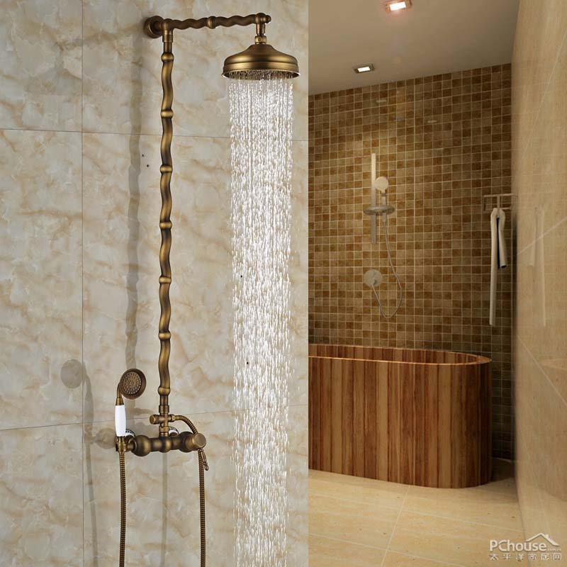 "Fashionable Slide Bar Design Bathroom Faucet with 8"" Brass Shower Head Antique Brass"