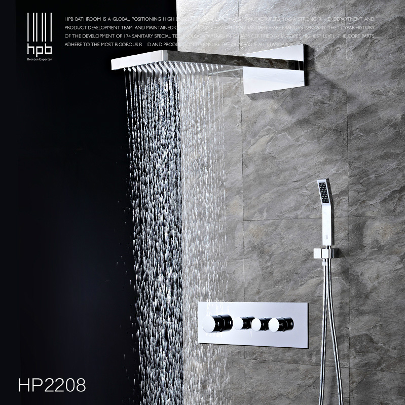 Luxury Hot and Cold rmostatic shower Brass 4 Functions Waterfall & Rain Shower Faucet Set with Handshower Chrome Wall Mounted