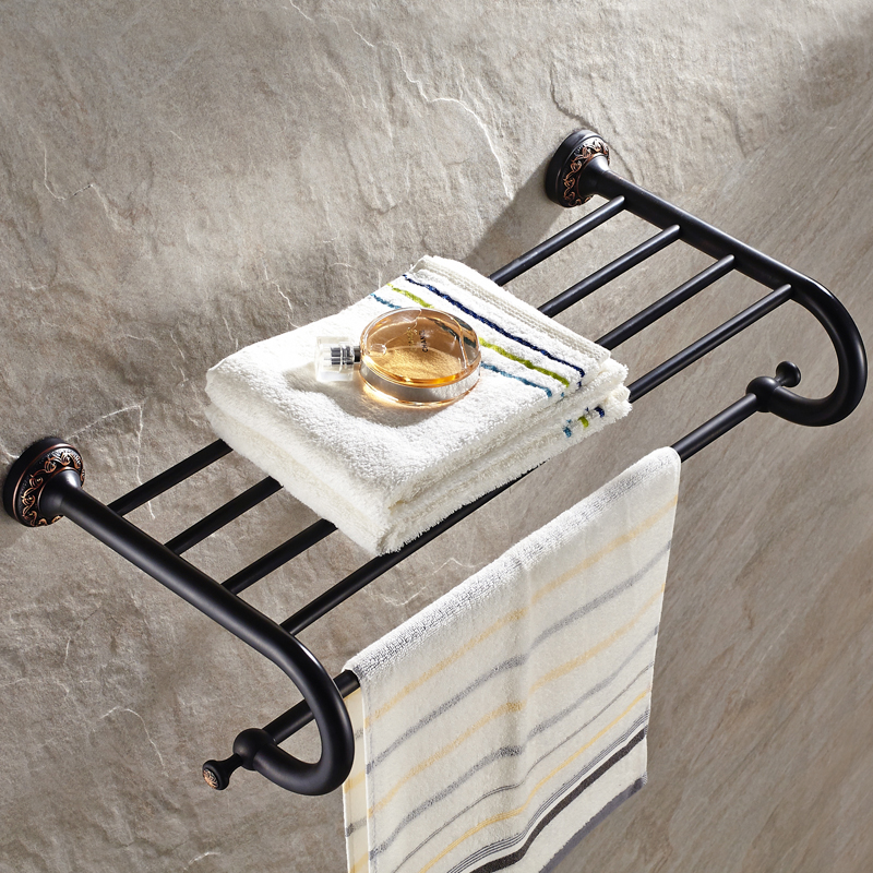 Antique Black Towel Racks Double Layers Carved Brass Towel Storage/ Towel Holder Black Bathroom Accessories