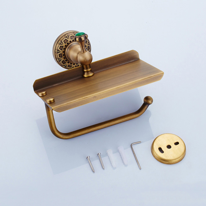 Paper Holders Antique Toilet Paper Holder with Phone Brass Green Jewel Decorative Tissue Holder Mobile Bathroom Hardware SSL-S05