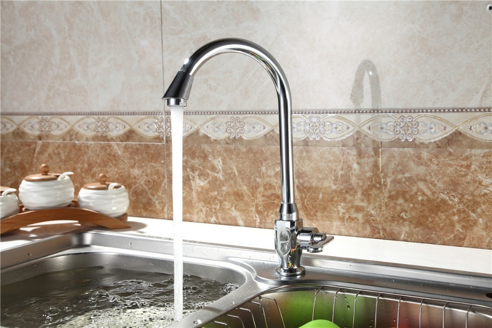 DONA 1402 Contemporary New Polished Chrome Brass Kitchen Faucet water tap