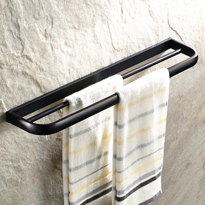 AUSWIND Antique Solid Bathroom Towel Holder Black Towel Rack with Double Bars Wall Mounted Bathroom Accessories